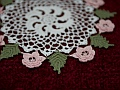 Close-up of the Irish Rose doilies